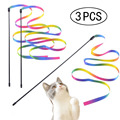 Палочки для кошек, 3 шт., двусторонняя цветная Радужная лента, забавные игрушки-палочки для кошек, Интерактивная палочка для домашних животн...