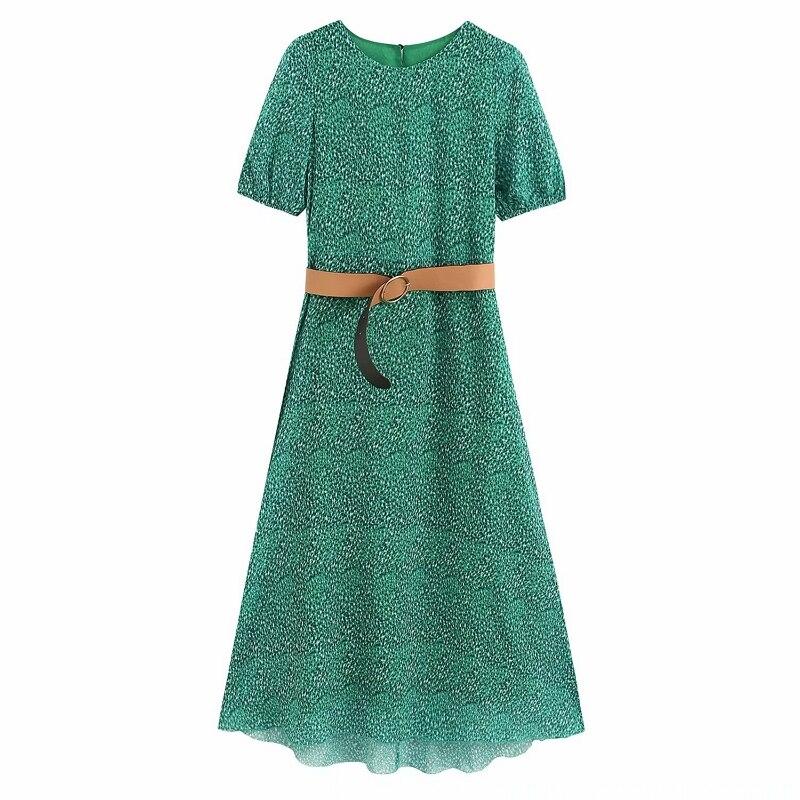New Women Vintage O Neck Short Sleeve Buckle Printing Casual Slim Chiffon Dress Ladies Vestidos Chic Straight Dresses DS3401