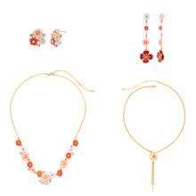 Red Enamel Flowers Drop Earrings Crystal Allergy Free Gold Color Adjustable Chains Necklace Choker For Fashion Jewelry Sets(China)