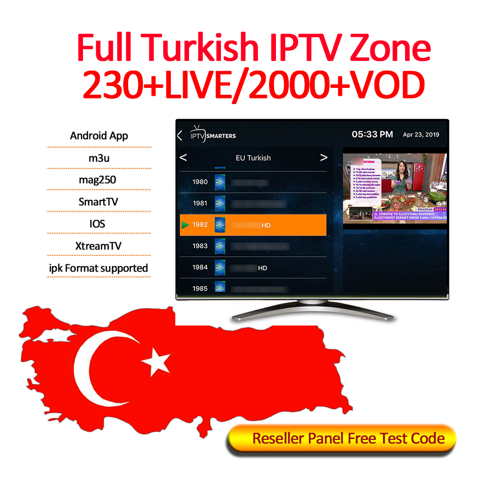 Turkish IPTV Channels Subscription France UK German Arabic Dutch Sweden Smart TV M3U 230+LIVE/2000+VOD