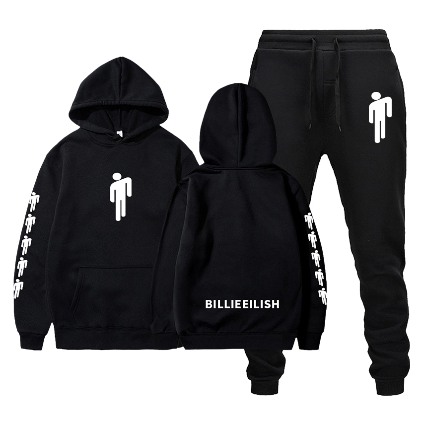 Autumn Winter Boutique Hoodie+Pants Two-piece Suit Men Women Printed Sportswear Hip-hop Harajuku Long-sleeved Men's Clothing