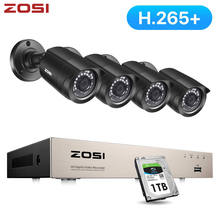 ZOSI CCTV System H.265+ 8CH 5MP Lite DVR with 4 1080p Outdoor Security Camera DVR Kit Day/Night Home Video Surveillance System