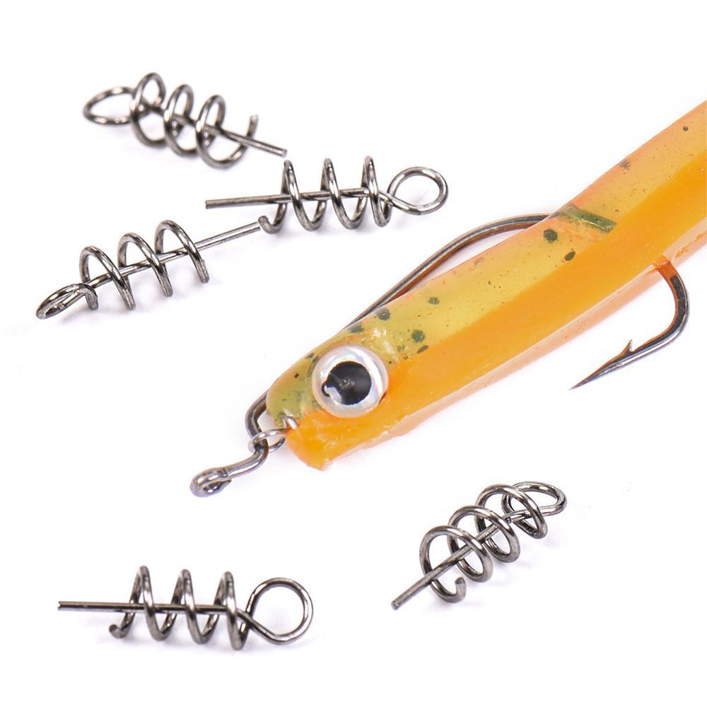100pcs/lot 14mm 35mm Fishing Screw Soft Fishing Baits Lures Spring Lock Pin Metal Tackle Lead Jig Head Crank Hook Connect Tool