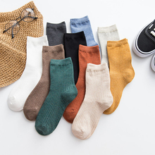 1Pair Women Sock Japanese Four Season New Piles Wild Fresh Cotton Double Needle Solid Harajuku Fashion Color