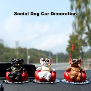 Śmieszne Smoking buldog ozdoby dominujące Sofa ozdoby samochodowe śliczne akcesoria do wnętrz samochodowych wisiorek Home Office zabawki pies tanie i dobre opinie CN (pochodzenie) Z żywicy 220g