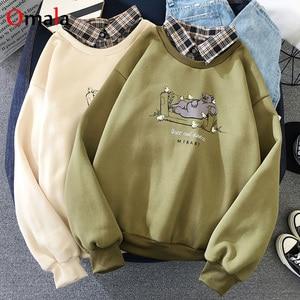 2020 autumn Long Sleeve Tops fashion Sweatshirt Plaid patchwork Sweatshirt Mujer Streetwear loose student cartoon print thin Top