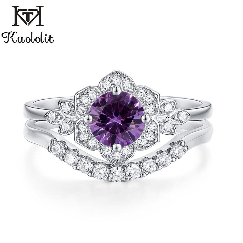 Kuololit Alexandrite Gemstone Set Rings For Women Solid 925 Sterling Silver Color Change Stone Band Stacking Ring Fine Jewelry