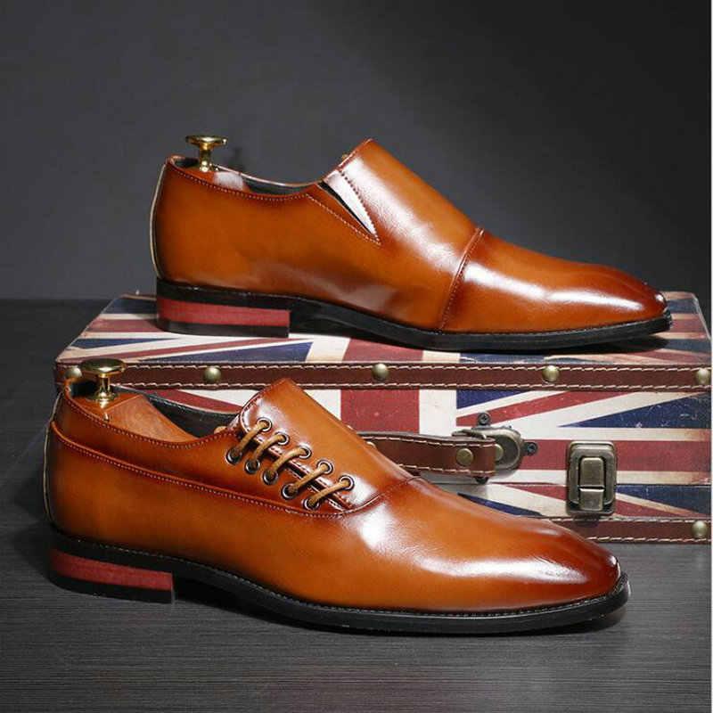 Yeni lüks resmi Oxfords erkek elbise ayakkabı ofis İş düğün Mens deri keşiş ayakkabı siyah kahverengi bağcıksız ayakkabı A57-29