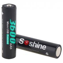 FFYY-Soshine 2 шт Ncr 18650 Li-ion 3,7 V 13.32Wh 3600Mah аккумуляторная батарея с Micro-Usb защищена для фонарика/головы