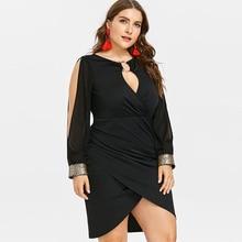 цена на ROSEGAL Plus Size Keyhole Neck Sequined Slit Bodycon Dress 2019 Autumn Women Clothing Party Dresses OL Club Dress Vestidos 5XL
