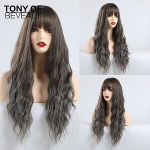 Image 4 - Syntetyczne długie fale Afro naturalne włosy peruki z grzywką dla czarnych kobiet brązowe szare szare faliste peruki z grzywką włókno termoodporne