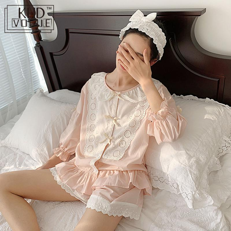 Cute Women Pajama Set Sleep & Lounge Summer Sweet Lace Sleepshirts Lolita Pajamas Girls Sleepwear Elastic Waist Shorts Cotton