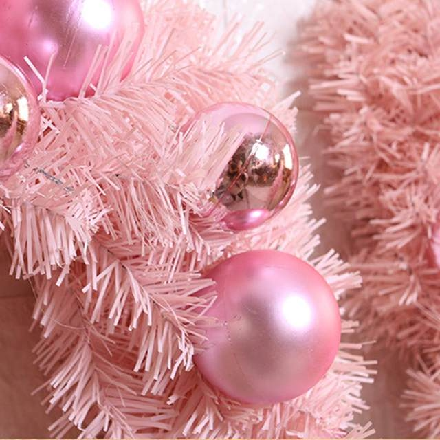 30/40cm Christmas Decoration Pink Christmas Wreath Rattan Ring Shopping Mall Window Scene Ornaments Artificial Christmas Wreath 22