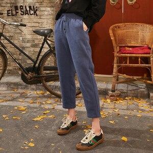 Image 2 - ELFSACK siyah katı kore Warmness kadın pantolon 2020 kış siyah elastik bel düz ofis bayanlar temel günlük pantolon