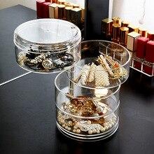 Пластиковый контейнер для хранения акриловый вращающийся органайзер для макияжа коробка для хранения косметики контейнер ожерелье браслет чехол держатель помады