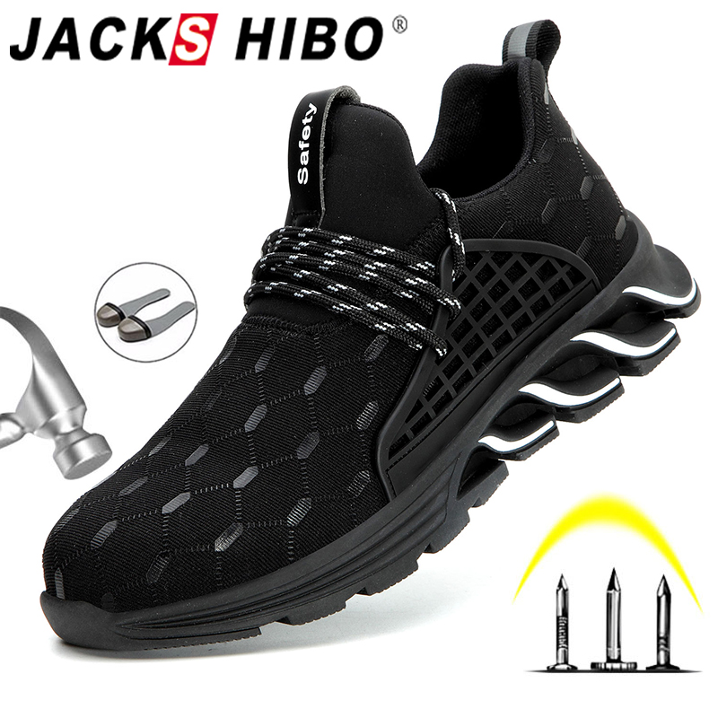 JACKSHIBO Men Work Safety Shoes Breathable Air Mesh Work Boots Steel Toe Cap Anti-Smashing Construction Safety Work Sneakers
