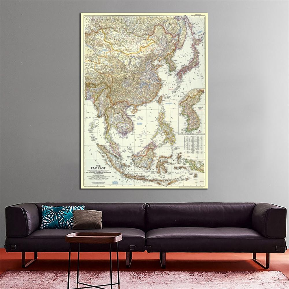 1952 Edition Non-woven Vinyl Spray Painting Maps Of The Far East HD Unframed Wall Map For Living Room Office Wall Decoration