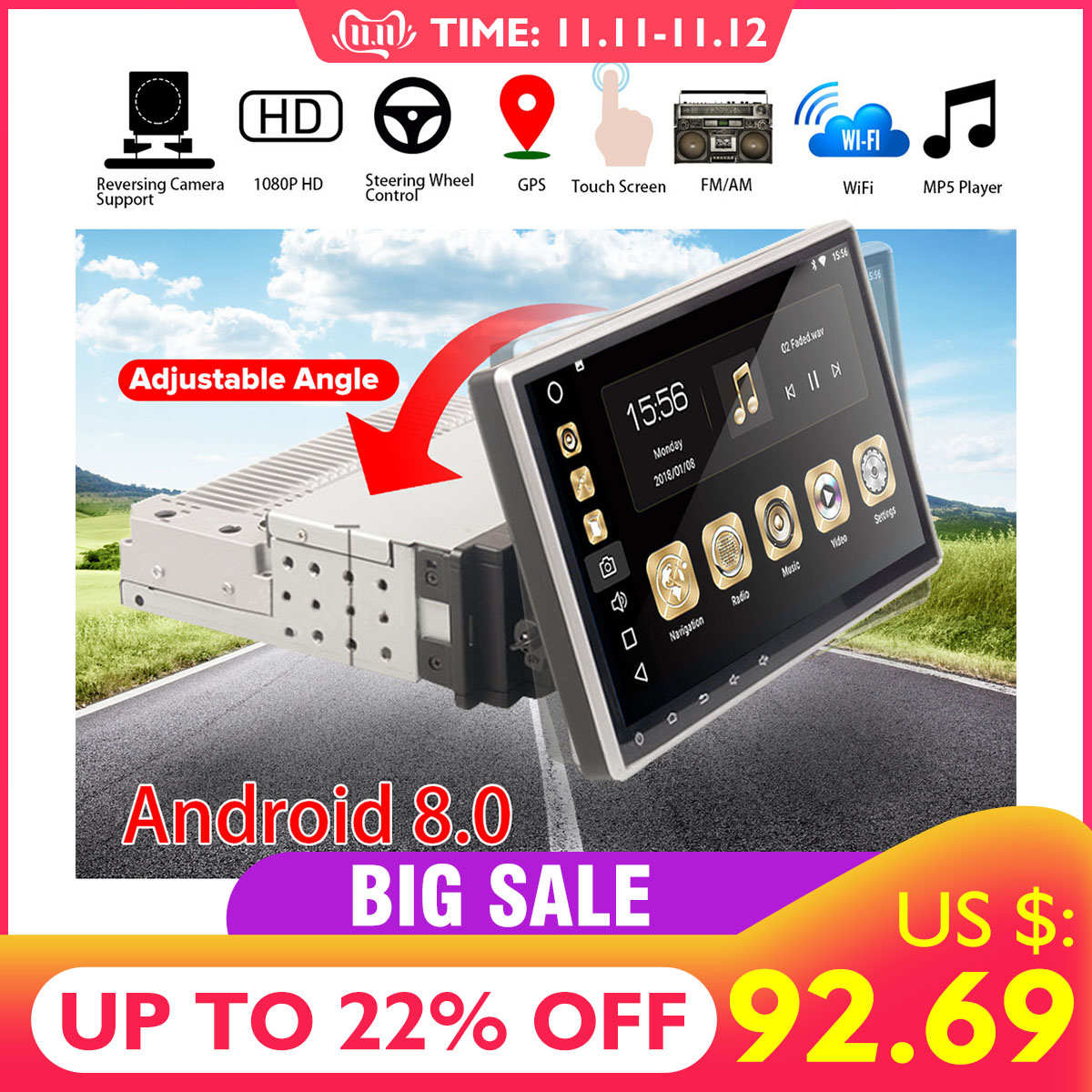 10.1 Android 8.0 Car Radio 1 Din 8Core Stereo Receiver GPS Stereo Wifi bluetooth RDS Audio Universal Car Multimedia Player image