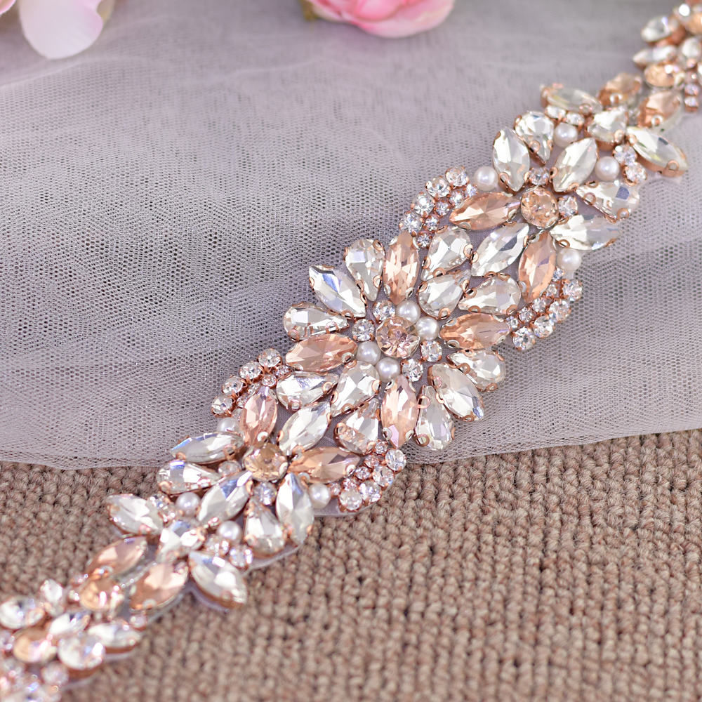 Купить с кэшбэком TRiXY S423 Rose Gold Rhinestones Bridal Belt Diamond Wedding Belt Sparkly Crystal Wedding Sash For Wedding Dress Accessories