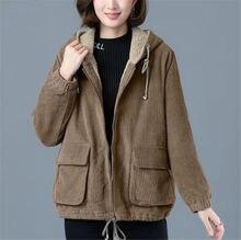 Вельветовое зимнее женское пальто флисовые свободные женские