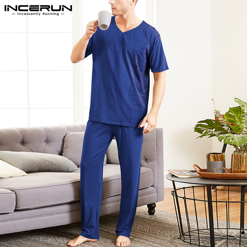 INCERUN Men Royal Blue Short Sleeve Multi Pockets Overalls Cargo Joggers Elasticated  Long Pants Sets Working Clothing Coveralls
