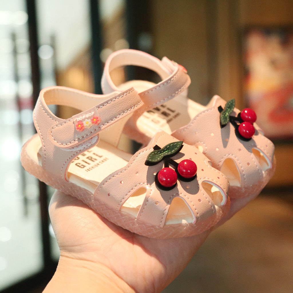 Age:15-18Months, Pink Breathable Hollow Sandals For Infant Kids Baby Girls Sweet Flower Close-toe Sandals Princess Shoes Summer Flat Shoes