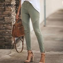 Elegante feminino elástico fino lápis calças primavera moda sólida cintura alta calças elásticas senhoras casual calças com zíper streetwear