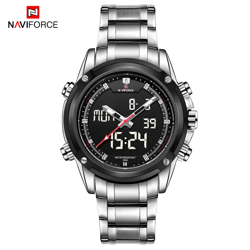 NAVIFORCE Luxury Watches Men Fashion Dual Display Sport Stainless Steel Waterproof Wristwatch Men Quartz Clock Relogio Masculino