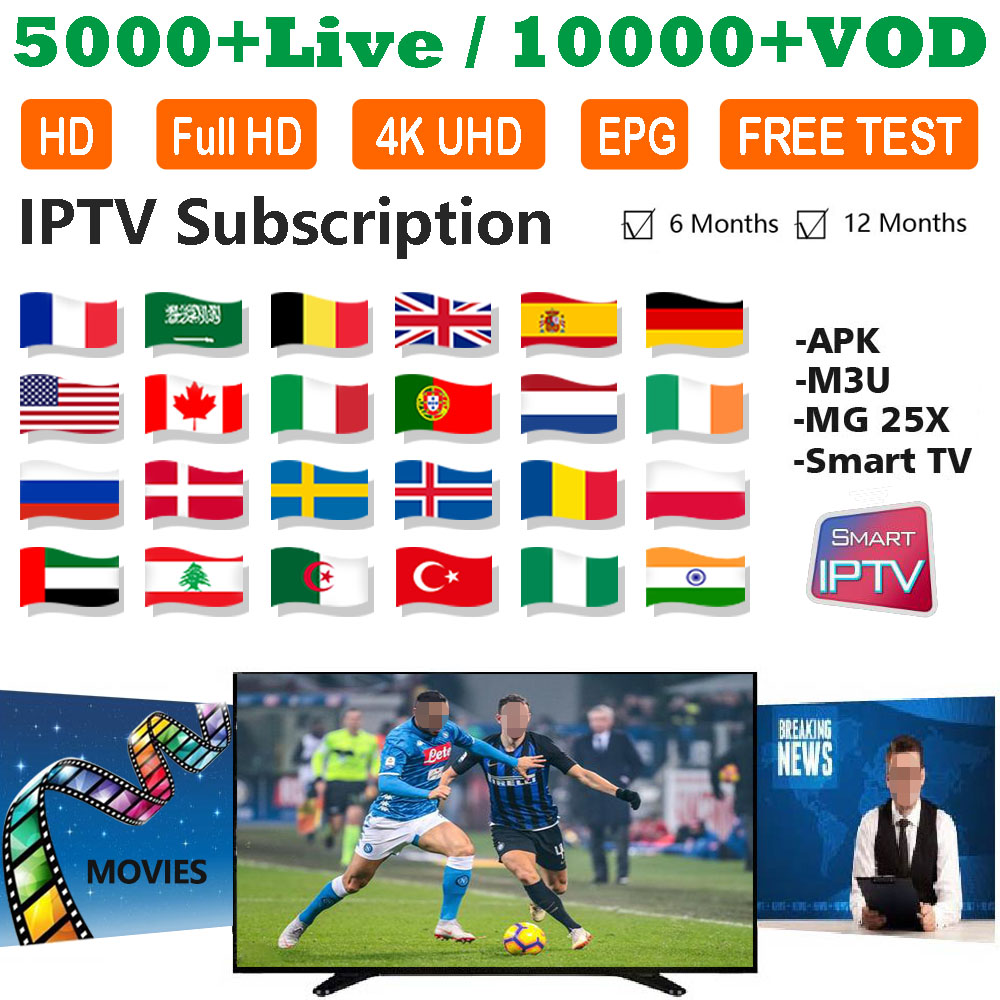 Best IPTV Arabic French Spain USA Sports Adult 18+ Movies 5000+ Live 10000+ VOD Android APK MG Smart TV Subscription IPTV M3U