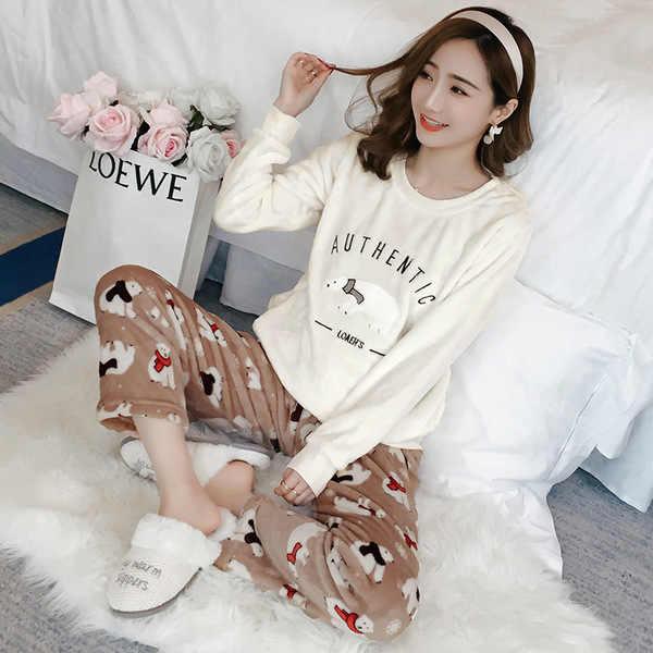 2019 sonbahar kış kadın pazen Pijama setleri Pijama Nightsuits kalın sıcak mercan kadın karikatür hayvan Pijama Mujer
