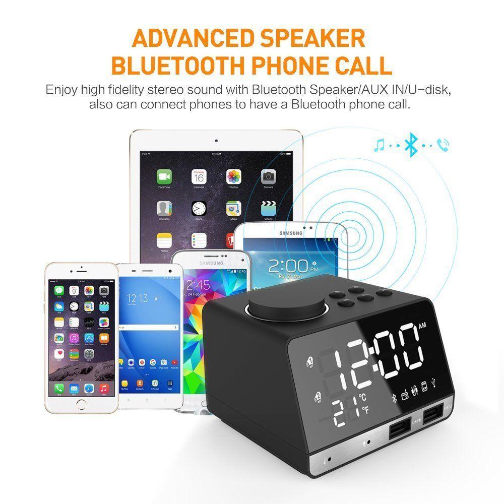 USB Port+FM  W3 LED Dual Alarm Mirror Clock Wireless bluetooth Bass Speaker