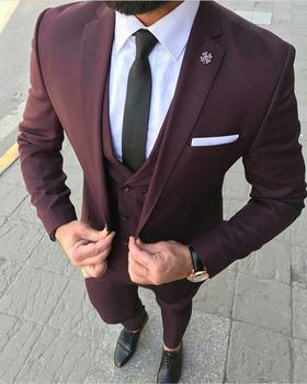 Latest Coat Pant Designs Wine Red Business Men Suit 2020 Prom Tuxedo Slim Fit 3 Piece Groom Dress Men Wedding Suits Blazer Terno