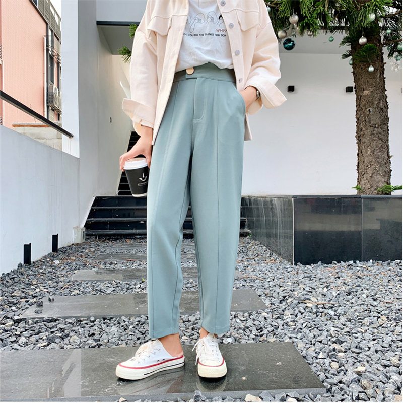 HziriP Hot Selling Streetwear Suit Full-Length Straight Large Size Casual Chic Loose Solid High Quality Carrot Pants 2 Colors
