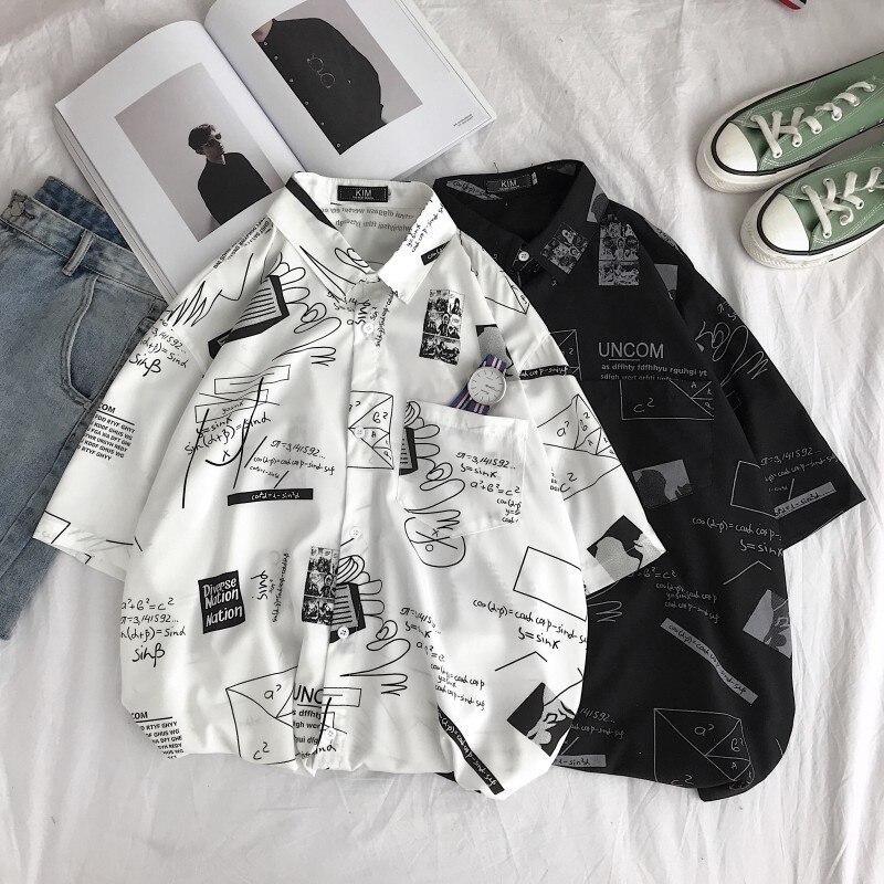 Летняя рубашка с короткими рукавами, Мужская модная Повседневная рубашка с принтом, Мужская Уличная Свободная рубашка в стиле хип-хоп, Мужская гавайская рубашка