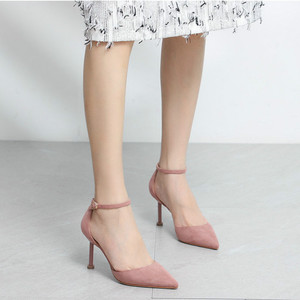 Image 3 - 2020 Shoes Woman Flock Ankle Straps 6/8cm Thin High Heels Women Faux Suede Cover Heeled Elegant Sexy Point Toe Sandals Pumps New