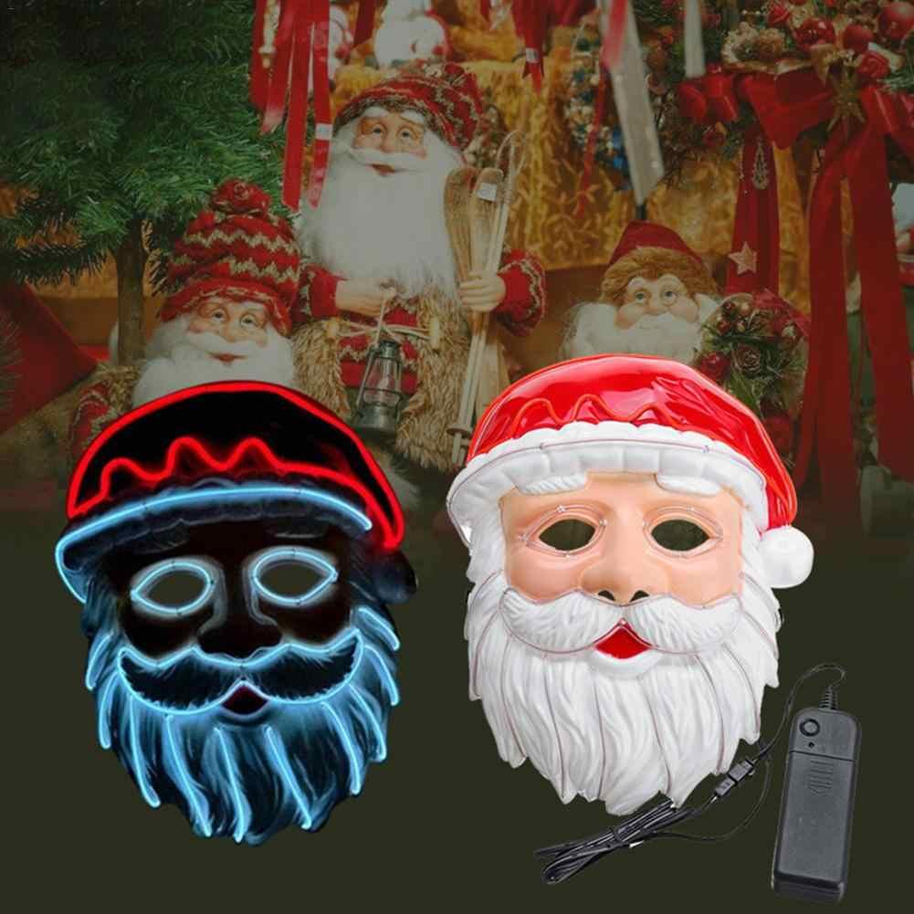 Santa Claus Masker Lampu LED Masker Dingin Cahaya Topeng untuk Festival Pesta Halloween LED Masker Drop Pengiriman