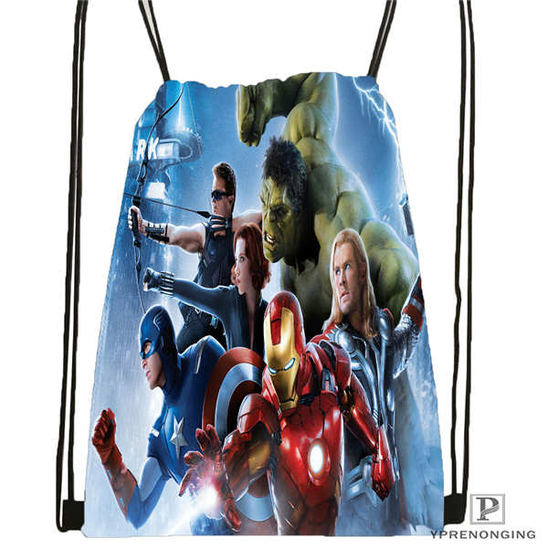 Custom Avengers_age Drawstring Backpack Bag Cute Daypack Kids Satchel (Black Back) 31x40cm#180612-02-30