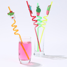 Creative 4Pcs Prickly Pear Shape Drink Straw Reusable Silicone Drinking Straws Set Party Birthday Wedding Christmas Decor tool