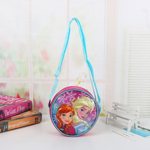 Bolsa de pañales Disney Princess Frozen, bolso para niños con moneda de dibujos animados, bolsa de Elsa, bolso de hombro para chica, paquete de regalo, bolsa de mensajero redonda