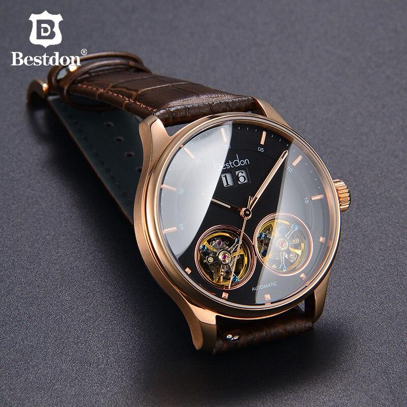 Bestdon Double Tourbillon Watch Men Switzerland Luxury Brand Leather Automatic Mechanical Watches Man Clock Relogio Masculino