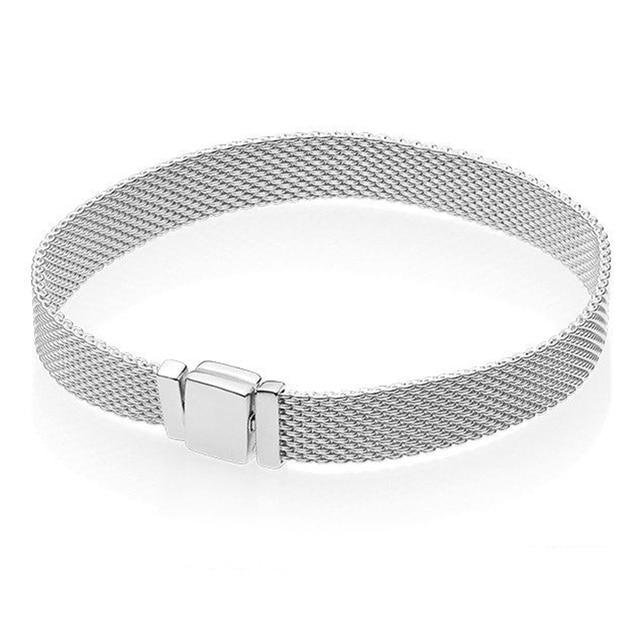 Original 925 Sterling Silver Bead Charm Reflection Mesh Bracelet Snake Chain Basic Bracelet Fit Women DIY Jewelry