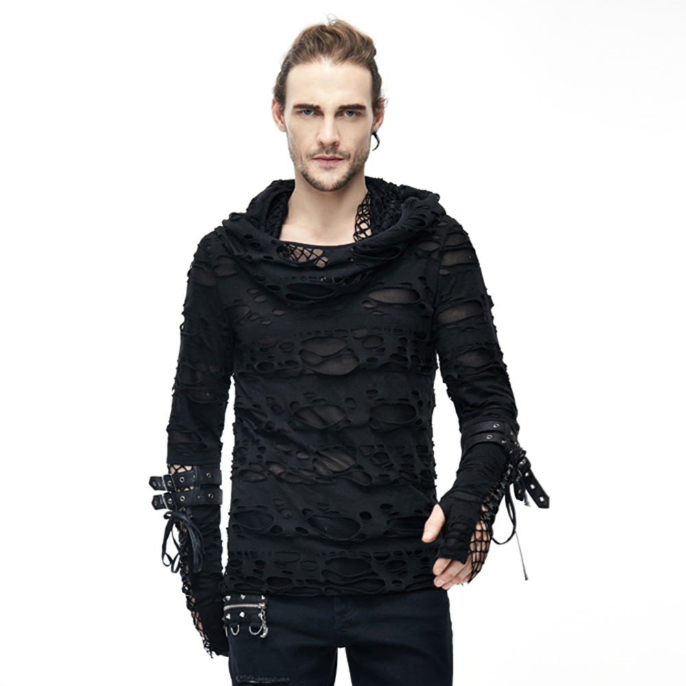 Devil Fashion Men's Punk Rock Long Sleeve with Hooded T Shirts Gothic Casual Mesh Hole Knit Top