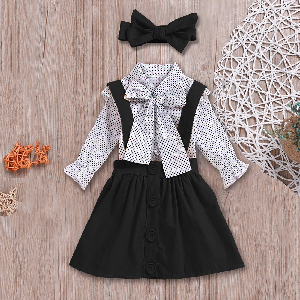 H7b5591af4ed74981be7cc98b9f8f58827 - HE Hello Enjoy Baby Girls Clothes Sets Summer Dot Flying Sleeve Shirt+Strap Dresses+Headband Kids Children's Clothing Suit