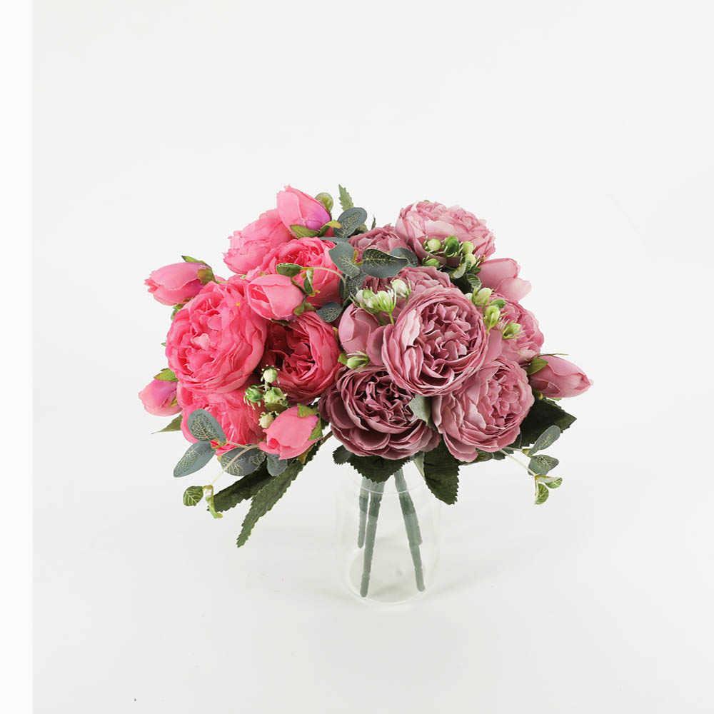 30 سنتيمتر الوردي الحرير الفاوانيا الزهور الاصطناعية باقة 5 الرأس الكبير و 4 برعم رخيصة وهمية الزهور ل ديكورات منزلية لحفل الزفاف داخلي