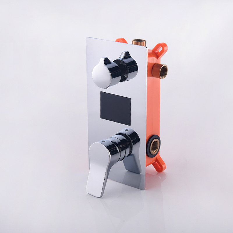 Mitigeur de douche noir hydroélectrique en laiton robinets de douche à affichage numérique Intelligent contrôleur de vannes chaudes et froides en Chrome - 3