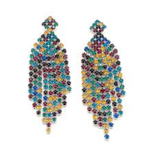 Vintage Chandelier Earrings Mixed Colorful Crystal Long Fringe  Jewelry for Women Wedding Anniversary Party