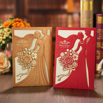 50PCS Wedding Invitations Cards with Groom & Bridal Bronzing Engagement Invite Cards and Envelopes for Quinceanera Party Supply