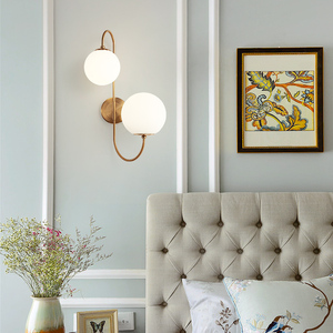 Image 4 - Modern nordic Glass Meta black/gold ball Retro Vintage Wall lamp E27 Loft for cafe bedroom foyer