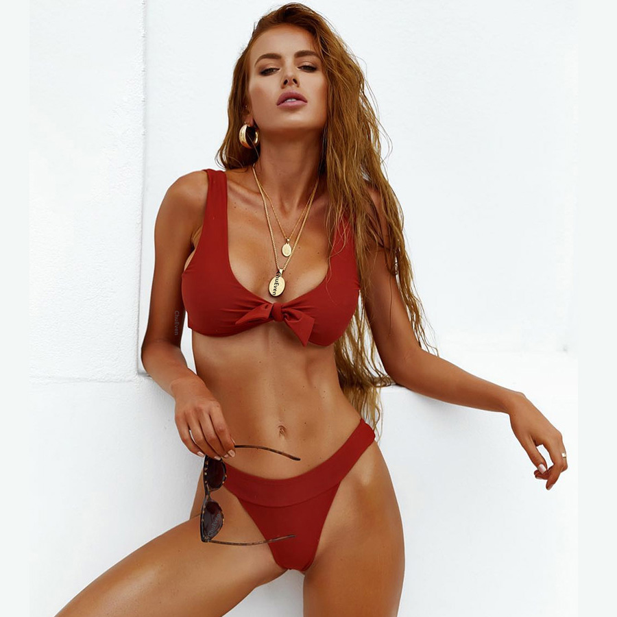 <font><b>Sexy</b></font> Solid Bowknot <font><b>2019</b></font> Triangle <font><b>Bikini</b></font> Set Women Bathing Suit Swimwear <font><b>Summer</b></font> Beach Wear Female Low Waist Red Swimsuit Biquini image