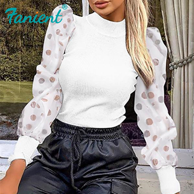 Casual Turtleneck Sweater Woman Winter Knitting Pullovers Lantern Sleeve Short Black White Knitted Solid Jumper Women Sexy Mesh